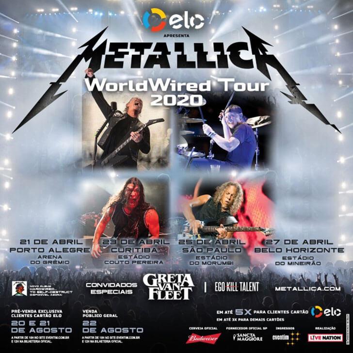 Resultado de imagem para metallica tour brasil 2020